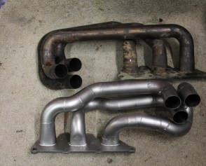 Vauxhall V6 stainless headers before & after